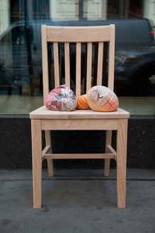 Dan Colen, MoMA chair (To be titled), 2013 Chair with 7 concrete filled whoopee cushions, red oak, and wood glue, 19 × 17 × 34 inches (48.3 × 43.2 × 86.4 cm)© Dan Colen