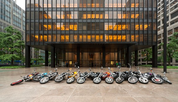 DAN COLEN Cracks in the Clouds, 2010 Motorcycles Dimensions variable Installation at Seagram Building, New York © Dan Colen