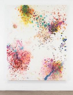 Dan Colen, Let's have a war, 2016 Flowers on bleached Belgian linen, 93 × 74 inches (236.2 × 188 cm)© Dan Colen