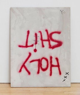Dan Colen, HOLY SHIT, 2006 Oil on plywood, 48 × 36 inches (121.9 × 91.4 cm)Photo by Rob McKeever