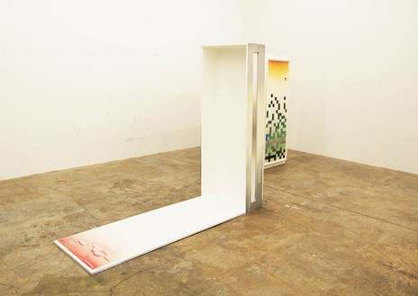 Dike Blair, Those and These, 2010 Painted wooden crates, framed gouache and pencil on paper, 70 × 49 × 157 inches (177.8 × 124.5 × 398.8 cm)