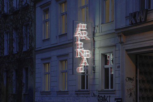 Douglas Gordon, Tryst between RWF and AR via RAG, 2008 Red and white neon, Plexiglas, aluminum, cables and transformer, 118 ⅛ × 49 3/16 × 15 11/16 inches (300 × 125 × 40 cm), edition of 6© lost but found