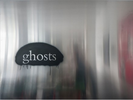 Douglas Gordon, ghosts, 2013 Enamel spray on paint on aluminum, 59 1/16 × 78 ¾ inches (150 × 200 cm)© lost but found