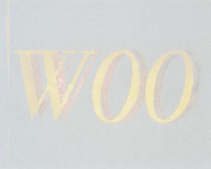 Ed Ruscha, Woo, Woo, 2013 Bleach on linen-covered board, 16 × 20 inches (40.6 × 50.8 cm)© Ed Ruscha