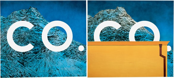 Ed Ruscha, UNTITLED DIPTYCH, 2007 Mixografia relief print on handmade paper, in 2 parts, each: 64 × 72 inches (163 × 183 cm)© Ed Ruscha