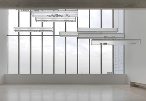 Edmund de Waal, atmosphere, 2014 286 porcelain vessels in 9 aluminum and plexiglass vitrines, each: 11 ⅞ × 118 ⅛ × 9 ⅞ inches (30 × 300 × 25 cm)Installation view, Turner Contemporary, Margate, England© Edmund de Waal. Photo: Mike Bruce