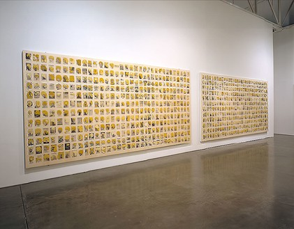 Installation view, Ellen Gallagher: eXelento, Gagosian, West 24th Street, New York, 2004 Artwork © Ellen Gallagher