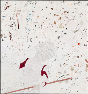 Ellen Gallagher, Greasy, 2011 Ink, oil, graphite, and printed paper on canvas, 79 ½ × 74 inches (202 × 188 cm)