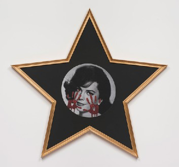 Francesco Vezzoli, Gioventú Bruciata (Natalie Wood, Santa Catalina Island, California), 2014 Inkjet print on canvas with metallic embroidery in star-shaped frame, 54 ⅞ × 57 ¾ inches (139.4 × 146.7 cm)