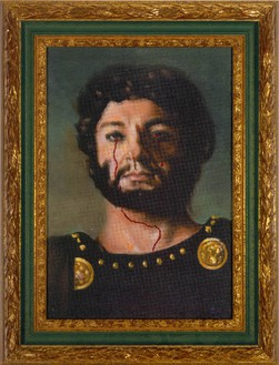 Francesco Vezzoli, Chaerea Killed Caligula (Paolo Bonacelli), 2005 Oil on canvas with metallic embroidery in artist's frame, 20 ½ × 15 11/16 inches (52 × 40 cm)