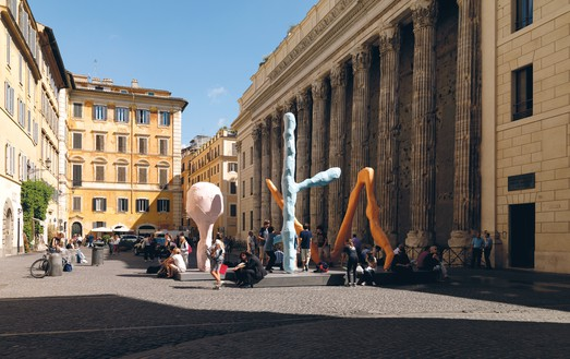 Franz West, Room in Rome, 2010 Lacquered aluminum, in 3 parts, pink: 118 ⅛ × 49 ¼ × 49 ¼ inches (300 × 125 × 125 cm), orange: 145 ⅝ × 196 ⅞ × 98 ⅜ inches (370 × 500 × 250 cm), blue: 200 ¾ × 106 ¼ × 78 ¾ inches (510 × 270 × 200 cm)Installation view, Franz West: Room in Rome, Piazza di Pietra, Rome, September 16–October 16, 2010© Archiv Franz West and © Estate Franz West
