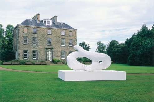 Franz West, Meeting Point 1, 1999–2001 Lacquered aluminum on painted wood base, sculpture: 58 ⅝ × 58 ¼ × 110 ¼ inches (149 × 148 × 280 cm), base: 19 ⅝ × 98 ⅜ × 139 ¾ inches (50 × 250 × 355 cm)Installation view, Franz West: Meeting Points, Inverleith House, Royal Botanical Garden, Edinburgh, 2001© Archiv Franz West and © Estate Franz West
