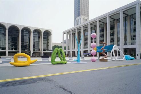 Installation view, Franz West: Recent Sculptures, Public Art Fund, Lincoln Center, New York, July 7–August 31, 2004 Artwork © Archiv Franz West and © Estate Franz West