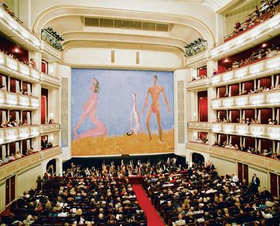Franz West's safety curtain, Drei – Vom Vorgang ins Temperament (2009), for the 2009–10 season of the Wiener Staatsoper, Vienna Artwork © Archiv Franz West and © Estate Franz West