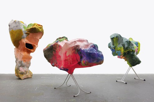 Franz West, Untitled, 2012 Papier-mâché, cardboard, acrylic lacquer, and steel, in 3 parts, overall dimensions variable© Archiv Franz West and © Estate Franz West