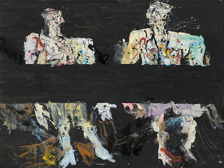 Georg Baselitz, Immer noch unterwegs (Still on the Road), 2014 Oil on canvas, 118 ⅛ × 157 ½ inches (300 × 400 cm)© Georg Baselitz
