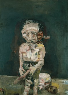 Georg Baselitz, Die große Nacht im Eimer (The Big Night Down the Drain), 1962–63 Oil on canvas, 98 ½ × 70 ⅞ inches (250 × 180 cm), Museum Ludwig, Cologne© Georg Baselitz