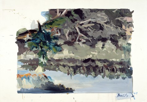 Georg Baselitz, Kahlschlag (Clearcutting), 1970 Oil and acrylic on canvas, 55 ⅛ × 78 ¾ inches (140 × 200 cm)© Georg Baselitz