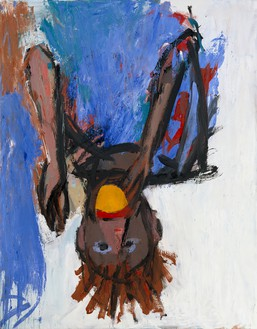 Georg Baselitz, Orangenesser (IX) (Orange Eater [IX]), 1981 Oil and tempera on canvas, 57 ½ × 44 ⅞ inches (146 × 114 cm)© Georg Baselitz, 2018. Photo: Friedrich Rosenstiel, Köln