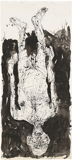 Georg Baselitz, Untitled, 2015 India ink pen and India ink on paper mounted on canvas, 130 ⅜ × 58 ½ inches (331 × 148.5 cm)© Georg Baselitz