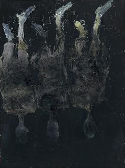 Georg Baselitz, Lieber Marcel Duchamp, das haben sie doch von Picasso gestohlen! (Dear Marcel Duchamp, You Stole That from Picasso!), 2016 Oil on canvas, 161 ½ × 120 ⅛ inches (410 × 305 cm)© Georg Baselitz 2016. Photo: Jochen Littkemann, Berlin