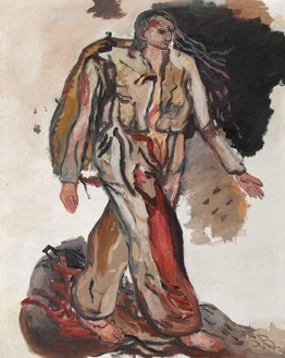 Georg Baselitz, Bonjour Monsieur Courbet, 1965 Oil on canvas, 63 ¾ × 51 ¼ inches (162 × 130 cm)© Georg Baselitz 2018. Photo: Ulrich Ghezzi