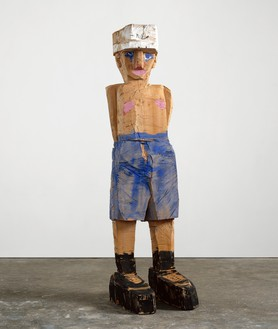 Georg Baselitz, Meine neue Mütze (My New Hat), 2003 Cedar and oil paint, 122 ¼ × 32 ⅞ × 42 ⅛ inches (310.5 × 83.5 × 107 cm), Pinault Collection, Venice© Georg Baselitz