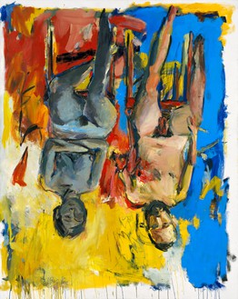 Georg Baselitz, Schlafzimmer (Bedroom), 1975 Oil and charcoal on canvas, 98 ½ × 78 ¾ inches (250 × 200 cm)© Georg Baselitz