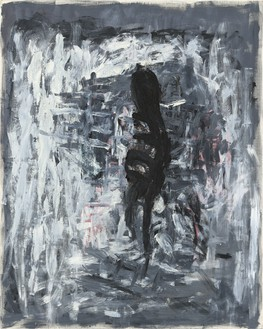 Georg Baselitz, Birnbaum II (Pear Tree II), 1980 Oil, egg tempera, and asphalt on canvas, 98 ½ × 78 ¾ inches (250 × 200 cm)© Georg Baselitz