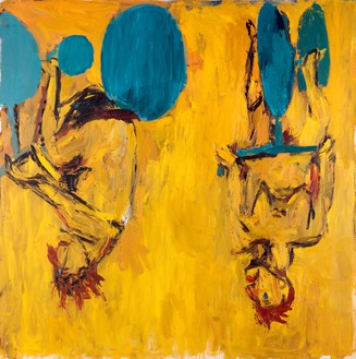 Georg Baselitz, Die Mädchen von Olmo II (The Girls from Olmo II), 1981 Oil on canvas, 98 ½ × 98 ⅛ inches (250 × 249 cm), Musée National d'Art Moderne, Centre Georges Pompidou, Paris© Georg Baselitz