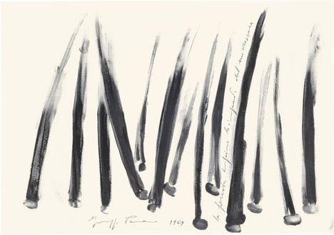 Giuseppe Penone, La foresta imprime le impronte del crescere (The Forest Engraves the Imprints of Growth), 1969 China ink on paper, 13 ¾ × 19 ¾ inches (35 × 50 cm)© Archivio Penone