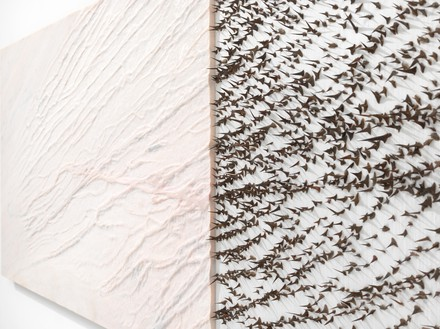 Giuseppe Penone, Pelle di marmo e spine d'acacia – Livia (Skin of Marble and Acacia Thorns – Livia), 2006 (detail) Pink marble, canvas, silk, and acacia thorns, 39 ⅜ × 139 ¾ × 2 ⅜ inches (100 × 355 × 6 cm)© Archivio Penone. Photo: Mike Bruce