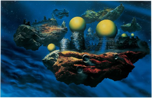 "Glenn Brown, ""The Pornography of Death""—Painting for Ian Curtis (copied from ""Floating Cities"" 1981 by Chris Foss), 1995 Oil on canvas, 86 ½ × 129 ¼ inches (220 × 328 cm)© Glenn Brown"