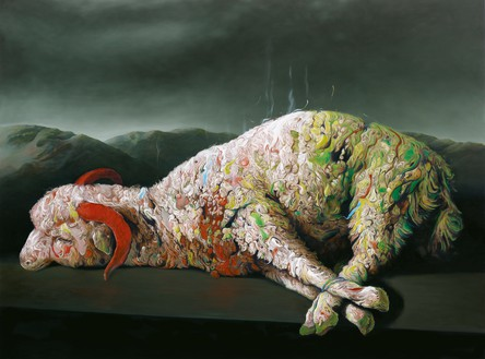 Glenn Brown, Spearmint Rhino, 2009 Oil on panel, 76 ½ × 102 ½ inches (194 × 260 cm)© Glenn Brown