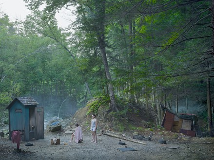 Gregory Crewdson, The Haircut, 2014 Digital pigment print, image: 37 ½ × 50 inches (95.3 × 127 cm), framed: 45 ⅛ × 57 ⅝ inches (114.5 × 146.2 cm), edition of 3 + 2 AP© Gregory Crewdson