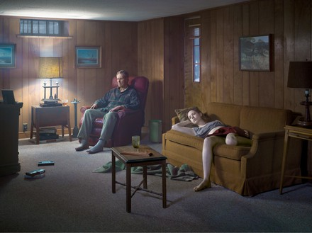 Gregory Crewdson, The Basement, 2014 Digital pigment print, image: 37 ½ × 50 inches (95.3 × 127 cm), framed: 45 ⅛ × 57 ⅝ inches (114.5 × 146.2 cm), edition of 3 + 2 AP© Gregory Crewdson