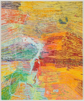 Harmony Korine, Blind Millsaps Line, 2014 House paint, oil, and collage on canvas, 102 × 84 inches (259.1 × 213.4 cm)