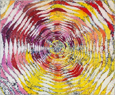 Harmony Korine, Grugged Circle, 2015 Oil on canvas, 84 × 102 inches (213.4 × 259.1 cm)Photo by Rob McKeever