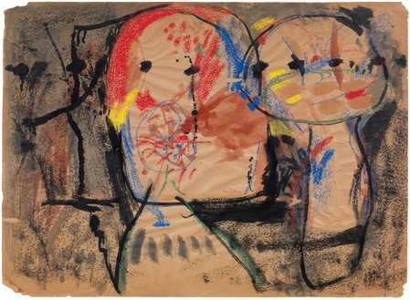 Helen Frankenthaler, Madridscape, 1958 Charcoal, crayon, watercolor, and ink on paper, 25 ¼ × 34 ½ inches (64.1 × 87.6 cm)© 2018 Helen Frankenthaler Foundation, Inc./Artists Rights Society (ARS), New York
