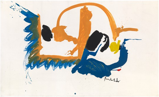 Helen Frankenthaler, May Scene, 1961 Oil on sized, primed linen, 35 ⅞ × 59 ⅞ inches (91.1 × 152.1 cm)© 2018 Helen Frankenthaler Foundation, Inc./Artists Rights Society (ARS), New York
