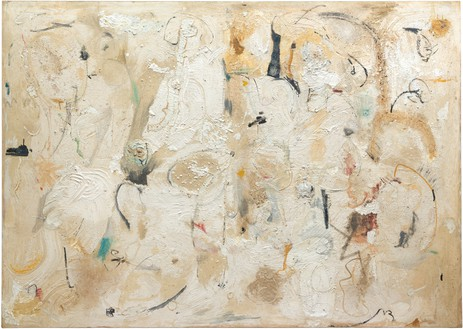 Helen Frankenthaler, Painted on 21st Street, 1950 Oil, sand, plaster of Paris, and coffee grounds on sized, primed canvas, 69 ⅛ × 97 inches (175.6 × 246.4 cm), Hirshhorn Museum and Sculpture Garden, Smithsonian Institution, Washington, DC© 2018 Helen Frankenthaler Foundation, Inc./Artists Rights Society (ARS), New York
