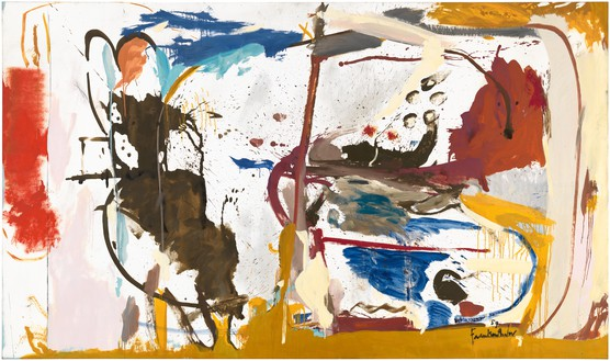 Helen Frankenthaler, First Creatures, 1959 Oil, enamel, charcoal, and pencil on sized, primed canvas, 64 ¾ × 111 inches (164.5 × 281.9 cm)© 2018 Helen Frankenthaler Foundation, Inc./Artists Rights Society (ARS), New York