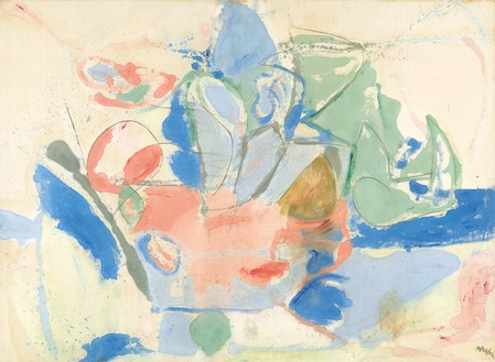 Helen Frankenthaler, Mountains and Sea, 1952 Oil and charcoal on unsized, unprimed canvas, 86 ⅜ × 117 ¼ inches (219.4 × 297.8 cm), Helen Frankenthaler Foundation, New York, on extended loan to the National Gallery of Art, Washington, DC© 2018 Helen Frankenthaler Foundation, Inc./Artists Rights Society (ARS), New York