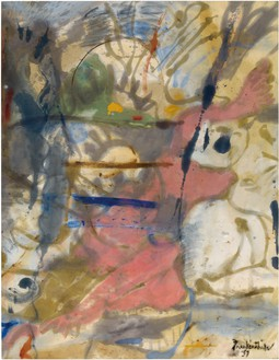 Helen Frankenthaler, Europa, 1957 Oil on unsized, unprimed canvas, 70 × 54 ½ inches (177.8 × 138.4 cm)© 2018 Helen Frankenthaler Foundation, Inc./Artists Rights Society (ARS), New York