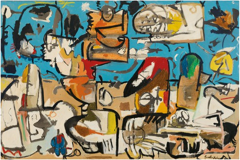 Helen Frankenthaler, Untitled, 1951 Oil and enamel on sized, primed canvas, 56 ⅜ × 84 ½ inches (143.2 × 214.6 cm), Crystal Bridges Museum of American Art, Bentonville, Arkansas© 2018 Helen Frankenthaler Foundation, Inc./Artists Rights Society (ARS), New York