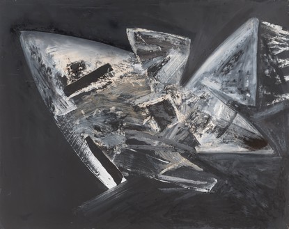 Jay DeFeo, Untitled (Samurai series), 1986 Acrylic, oil pastel, oil, and collage on paper, 32 × 40 ⅛ inches (81.3 × 101.8 cm)© 2020 The Jay DeFeo Foundation/Artists Rights Society (ARS), New York