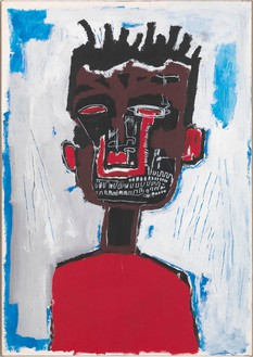 Jean-Michel Basquiat, Self Portrait, 1984 Acrylic and oilstick on paper mounted on canvas, 38 ⅞ × 28 inches (98.7 × 71.1 cm)