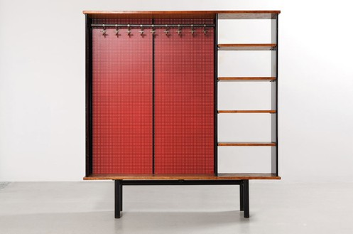 Jean Prouvé, Vestiaire Antony, 1956 Bent sheet steel, wood, and Isorel, 74 3/16 × 70 ¼ × 13 ¾ inches (188.5 × 178.5 × 35 cm)