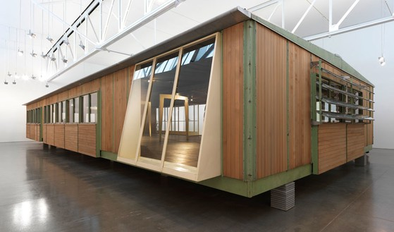 Jean Prouvé, Ferembal Demountable House, 1948 Metal, wood, aluminum, and glass, 137 13/16 × 933 1/16 × 417 5/16 inches (350 × 2,370 × 1,060 cm)Photo by Rob McKeever