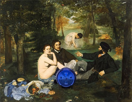 Jeff Koons, Gazing Ball (Manet Luncheon on the Grass), 2014–15 Oil on canvas, glass, and aluminum, 63 × 81 ¼ × 14 ¾ inches (160 × 206.4 × 37.5 cm)© Jeff Koons